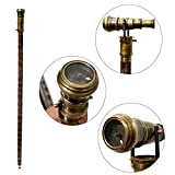 Royal Antique Compass Telescope Walking Stick Nautical Solid Wooden Cane Party Theme - Vintage Antique Gray