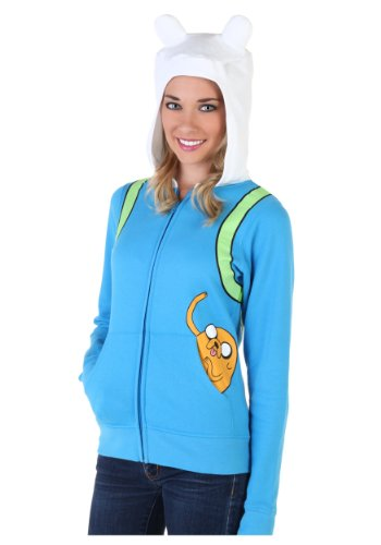 Adventure Time Costumes For Adults (Adventure Time Finn The Human Juniors Light Blue Costume Hoodie Sweatshirt (JuniorsLarge))