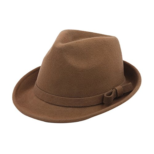 Women's Deluxe 100% Wool Solid Color Fedora Hat, Taupe