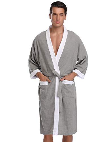 Vlazom Lightweight Bathrobe Unisex Waffle Robes Cotton Soft Kimono Loungewear Sleepwear for Summer Holiday Spa Hotel