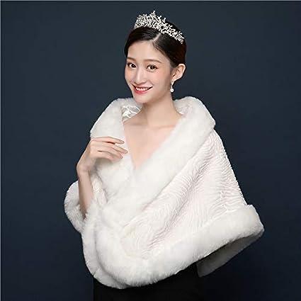 Amazon.com: Mink Monk Simple Winter Ivory Faux Fur Bridal ...