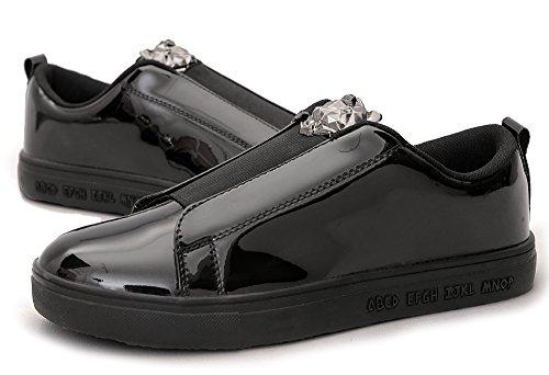 Fashion Outdoor AOUPOU on Black Street Metallic Sneakers Shoes Walking Slip Party Low Top Men's Comfy UpUBfW1vt