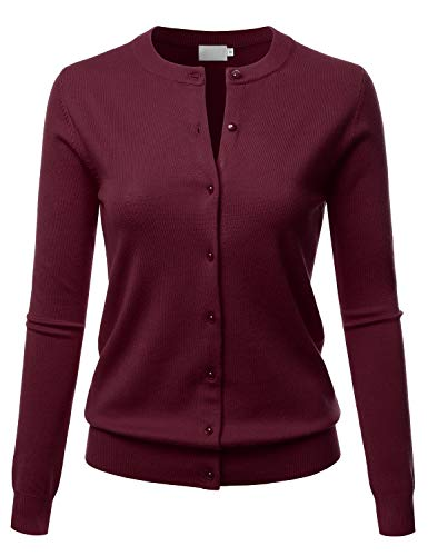 LALABEE Women's Crew Neck Gem Button Long Sleeve Soft Knit Cardigan Sweater Burgundy S Button Up Long Sleeve Cardigan