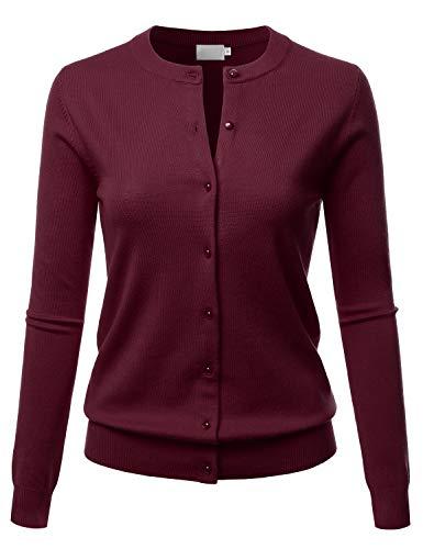 LALABEE Women's Crew Neck Gem Button Long Sleeve Soft Knit Cardigan Sweater Burgundy XL ()