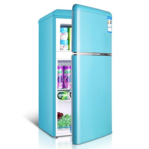 Double door retro refrigerator with freezer mini fridge removable partition bracket and transparent fruit and vegetable box for dormitory/office/apartment/car