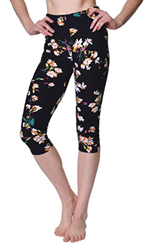 VIV Collection Regular Size Printed Brushed Capris (Lily Black) (Cotton Leggings Petite)