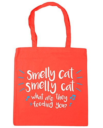 HippoWarehouse Smelly cat smelly cat what are they feeding you Tote Shopping Gym Beach Bag 42cm x38cm, 10 litres Coral