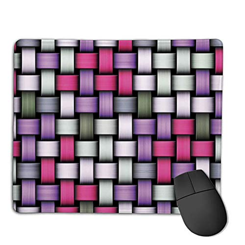 Mouse Pad,Stitched Edges, Waterproof, Ultra Thick 3mm, SilkyAbstract,Knot Pattern with Large Fractal Yarns Geometric Linked Bands Graphic,Pink Purple Silver Grey,Applies to Games,Home, School,Office