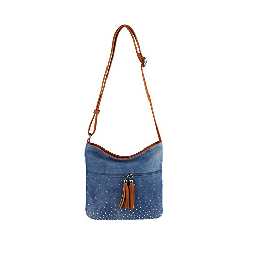 OBC Only-Beautiful-Couture - Bolso al hombro para mujer azul Hellblau-Braun 17x15x10 cm ca.: 17x15x10 cm (BxHxT) Blau-Braun 17x15x10 cm