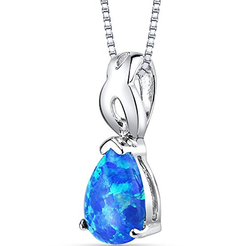 Created Blue Opal Poire Pendant Necklace Sterling Silver 1.00 Carat