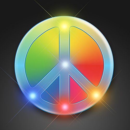 Set of 25 Rainbow Peace Sign Light Up Lapel Pins ()