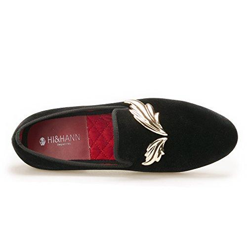 Hi & Hann Mannen Fluweel Slipper Met Gouden Bladeren Metalen Loafer Schoenen Instappers Loafer Ronde Tenen Rokende Slipper
