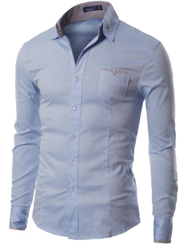 Doublju Mens Dress Shirt with Contrast Neck Band