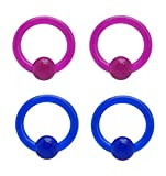 2 Pair of Purple & Blue Acrylic Captive bead Ring lip, belly, nipple, cartilage, tragus, septum, earring hoop 12g 1/2''