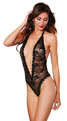 Dreamgirl Lace Teddy (Dreamgirl Women's Seductive Lace Teddy With Heart Cut-Out Detail, Black, One Size)
