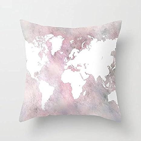 GOODcake Manta de almohada, mapamundi almohada, funda de cojín, funda de almohada,