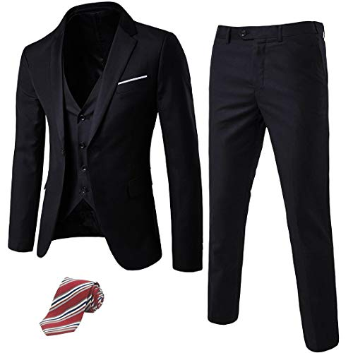 MY'S Men's 3 Piece Suit Blazer Slim Fit One Button Notch Lapel Dress Business Wedding Party Jacket Vest Pants & Tie Set - Black Dress Suit