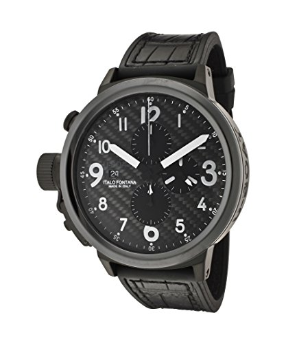 U-Boat Men's Flightdeck Automatic/Mechanical Chronograph Black Carbon Fiber Dial Black Leather/Rubber