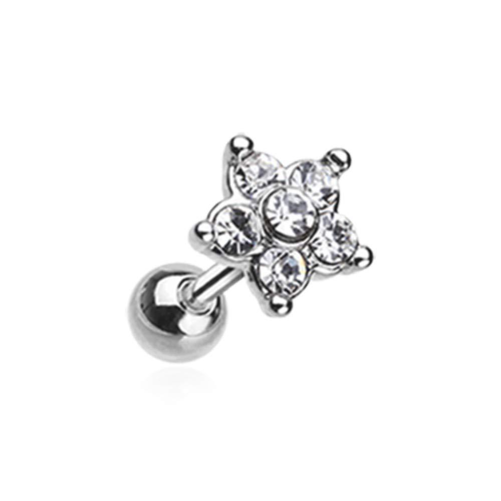 18 GA Starburst Sparkle Flower Cartilage Tragus Earring Davana Enterprises
