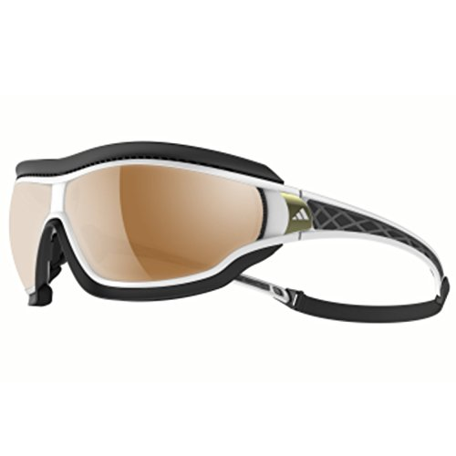 adidas Tycane Pro Outdoor L A196 6052 Rectangular Sunglasses, White Shiny & Grey, 82 mm