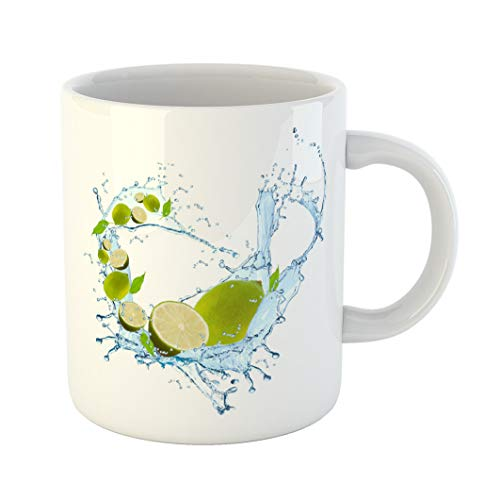 - Emvency Coffee Tea Mug Gift 11 Ounces Funny Ceramic Blue Attribute Fresh Fruit in Water Splash Falling Lime Abstract Orange Beauty Gifts For Family Friends Coworkers Boss Mug
