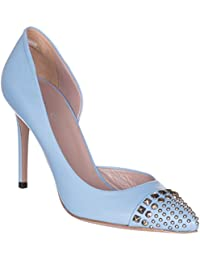 Women's Mineral Blue Leather Studded Stiletto Heels Shoes