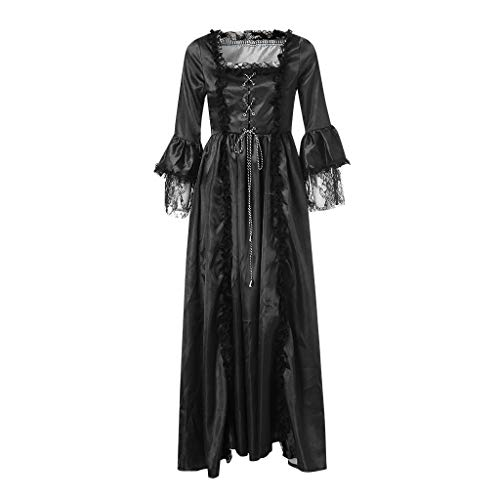 Price comparison product image Women Dress Retro Medieval Costumes Fancy Party Princess Renaissance Cosplay Lace Long Sleeved Dress (Black -1,  XXXL)