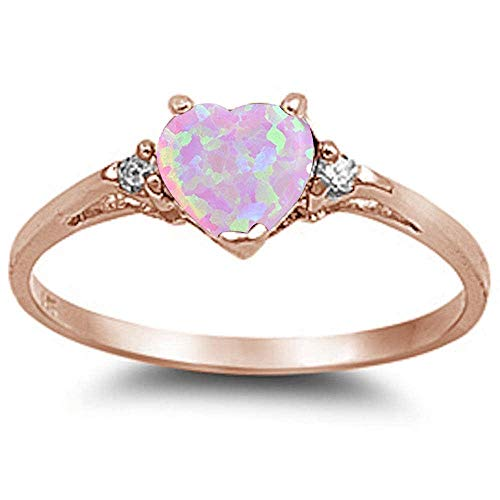 (CloseoutWarehouse Simulated Pink Opal Cubic Zirconia Heart Ring Rose-Gold Plated Sterling Silver Size 5)