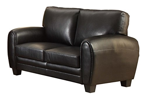 Homelegance 9734BK-2 Upholstered Loveseat, Black Bonded Leather Match - Black Loveseat Leather Match