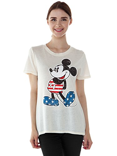 Disney Junior T-Shirt American Flag Print Burnout Tee (Mickey Mouse, - Flag Mouse Mickey