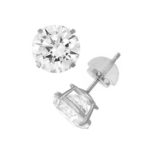 Celebrity Cz Jewelry - 14K White Gold Cubic Zirconia CZ 6.0 mm Stud Earring Comfort Fit