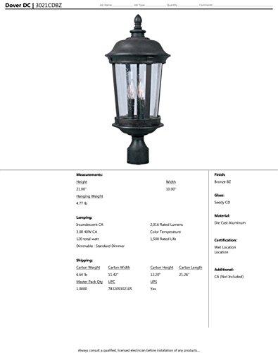maxim 3022cdbz dover cast 3 light outdoor pole post lantern bronze