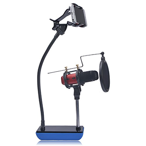 Phone Microphone Holder, eBerry 3 in 1 Metal Gooseneck Microphone Mount Holder Stand Kit: Mic Stand, Phone Mount and Pop Filter for Karaoke, Recording, Studio, Video Chatting, YouTube (Weighted Base)
