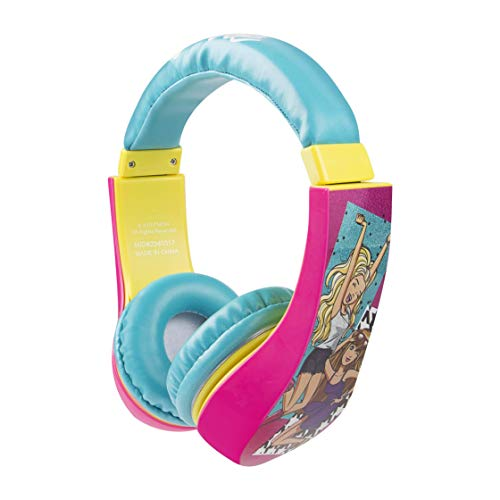 Barbie 30359 Kid Safe Over the Ear Headphone w/ Volume Limiter, Styles May Vary by Sakar,, Full Range Stereo Sound, Padded, Extra Comfortable Ear Cups, Pink/ Blue