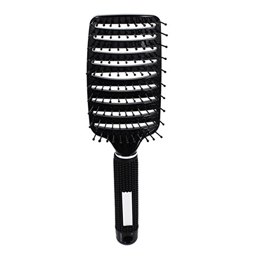 - 1 Pack Comb Hairbrush Heat Curved Vent Barber Salon Hair Styling Tool Rows Tine Bristle Brushes Combo Pocket Long Round Handle Holder Deluxe Popular Beard Brush Natural Women Travel Kit, Type-01