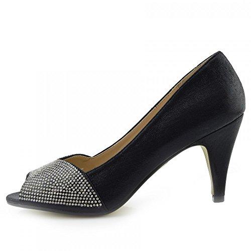 Kick Footwear Damen Heels Klassische Party-Looks Open Toe Hochzeit Gericht Diamante Damen Schuhe Schwarz