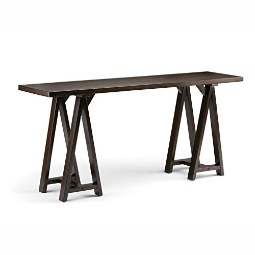 Simpli Home 3AXCSAW-03W-BR Sawhorse Solid Wood 66 inch Wide Modern Industrial Wide Console Sofa Table in Dark Chestnut Brown