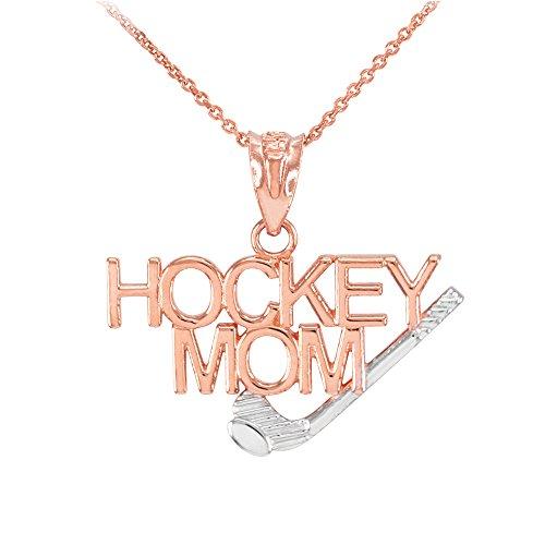 Collier Femme Pendentif Bicolore 14 Ct Or Rose Hockey Mom Sports (Livré avec une 45cm Chaîne)