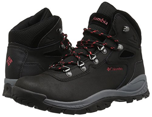 41Jh8SwBUAL Columbia Women's Newton Ridge Plus Hiking Boot, Black, Poppy Red, 7.5 Regular US