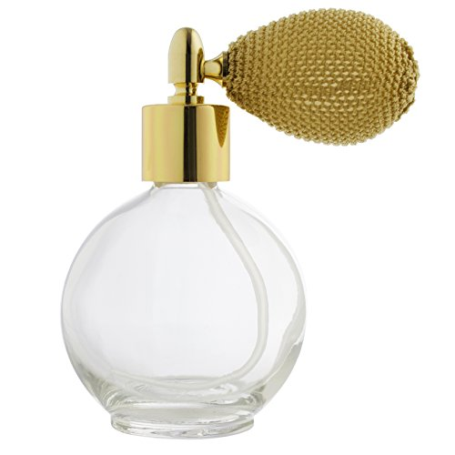 Gold Perfume Bottle - Perfume Empty Refillable Glass Round Bottle with Antique Gold Bulb Sprayer 2.65 oz with funnel and pipettes