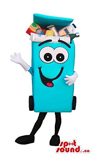 [Blue Recycling Trash Can Mascot SpotSound US With A Cartoon Face] (Recycle Bin Costume)