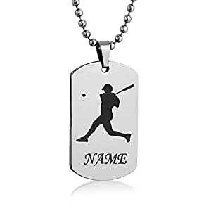 Personalized Sport Silhouette Customize Engrave Message Name Dog tag Necklace Pendant 24 inch Stainless Steel Chain Giftpouch and Keyring (Baseball)