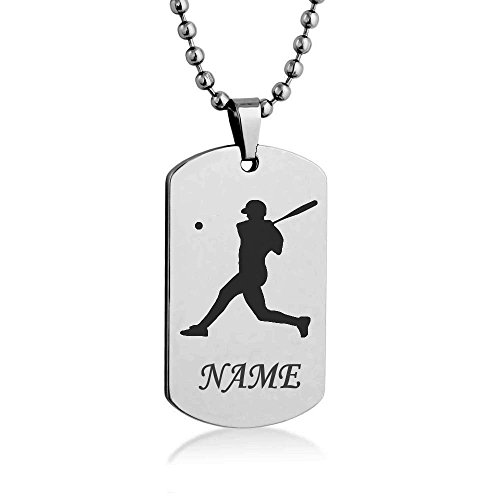 Sport Silhouette Baseball Basketball Football Volleyball Hockey Customize Engrave Dog tag Necklace Pendant 24 inch Stainless Steel Chain Giftpouch and Keyring (Baseball) (Silhouettes Sports)