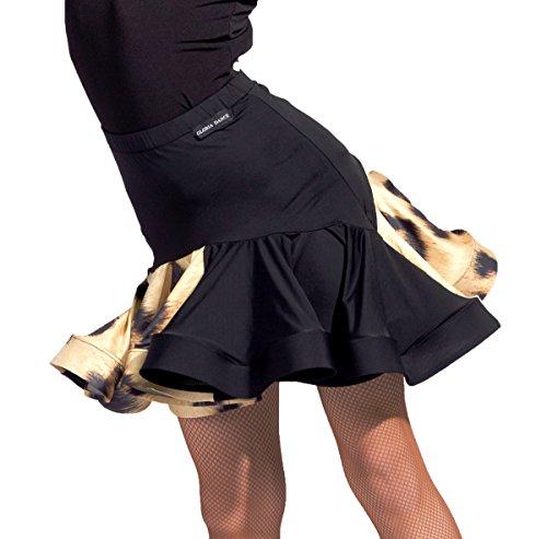 SCGGINTTANZ GD2101 Kid Latin Ballroom Party Dance Professional Double Color Splicing and Fish Bone Edge Design Skirt for Girl ((FBA) Leopard+Black, 160)