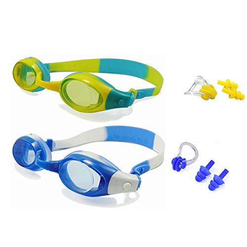 Kids Swim Goggles Pack of 2 Swimming Glasses for Children (3 to 15 Years Old) Waterproof Anti-Fog Goggles with UV Protection and Earplugs - Glasses Pool For