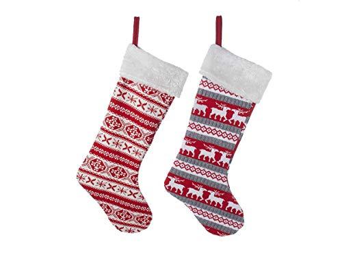 Kurt Adler 22quot Red Knit Stocking Set Of 2