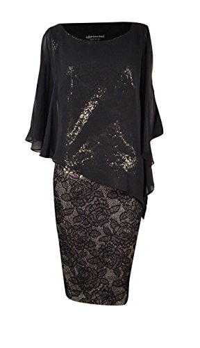 (Connected Apparel Womens Chiffon Sequined Capelet Dress Black 6)