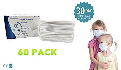 Kids Disposable Face Masks for Flu Surgical Earloop White Medical Dental Allergy Pollution Pediatric Premium Soft Four Layer Filter Sensitive Skin, Hypoallergenic Immune System Protection,60PCS White