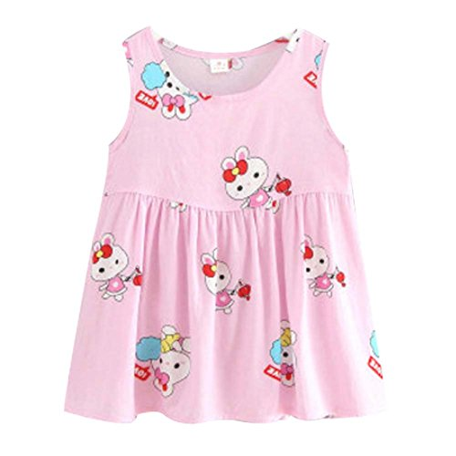 Koala Superstore Sleeveless Cotton Dress Vest Skirt for Girls Home Nightdress Kids' Pajama [E] by Koala Superstore