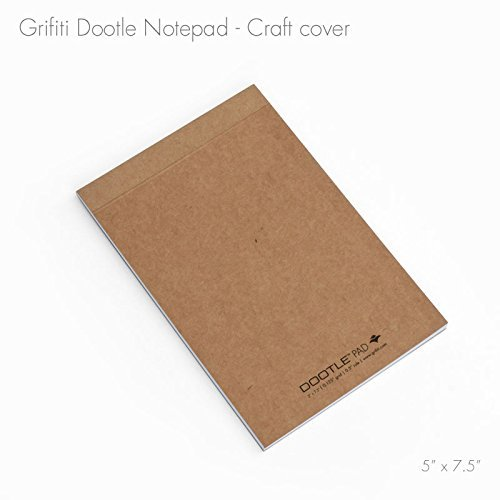 "Grifiti Dootle Pad 5"" X 7.5"" Mini Junior Legal 5 Pack Brown Craft Art Cover Fits Dootle iPad Mini Folio Combination Blue 0.5"" Ruled and 0.125"" Grid Front Side and Blank Back Side Paper Notepad for Writing Notes, Drawing, Doodling"